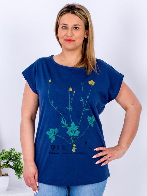 Granatowy t-shirt z jaskrami PLUS SIZE                              zdj.                              1