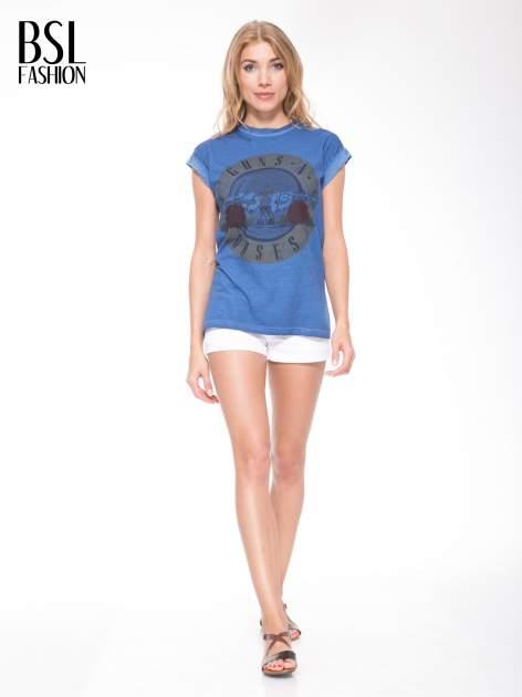 Granatowy t-shirt z nadrukiem GUNS N' ROSES                                  zdj.                                  5