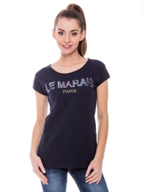 Granatowy t-shirt z nadrukiem LE MARAIS