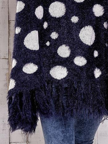 Granatowy włochaty sweter w grochy                                  zdj.                                  8