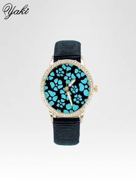 Granatowy zegarek damski na błyszczącym paski z cyrkoniami na kopercie                                  zdj.                                  1