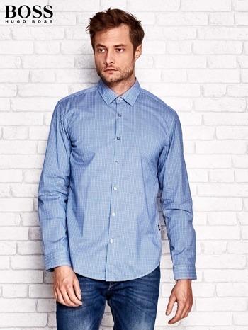 HUGO BOSS Niebieska koszula męska w kolorową kratkę                              zdj.                              1
