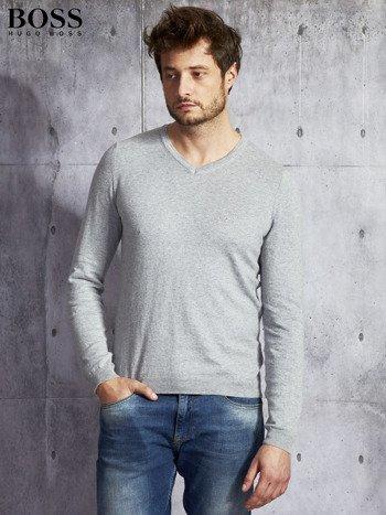 HUGO BOSS Szary sweter męski w serek                              zdj.                              1
