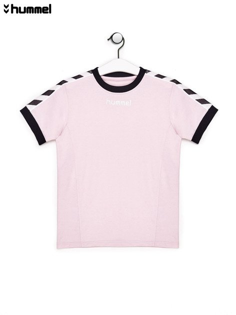 HUMMEL Jasnoróżowy t-shirt chłopięcy z siateczkowymi wstawkami