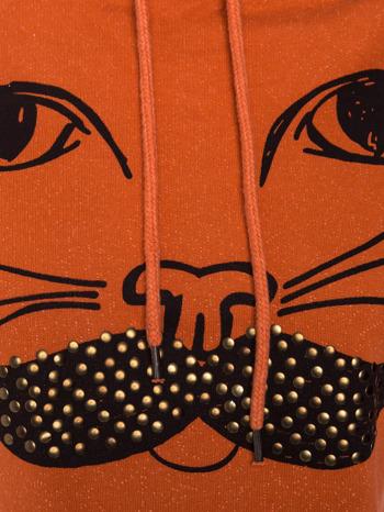 """""""HipsterCat' Pomarańczowa bluza z nadrukiem kota                                  zdj.                                  4"""