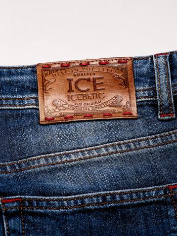 ICEBERG Ciemnoniebieskie spodnie jeansowe z przetarciami                                  zdj.                                  4