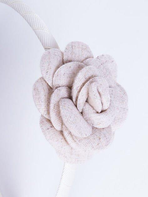 INCA Opaska do włosów ecru z ozdobną różą                              zdj.                              3
