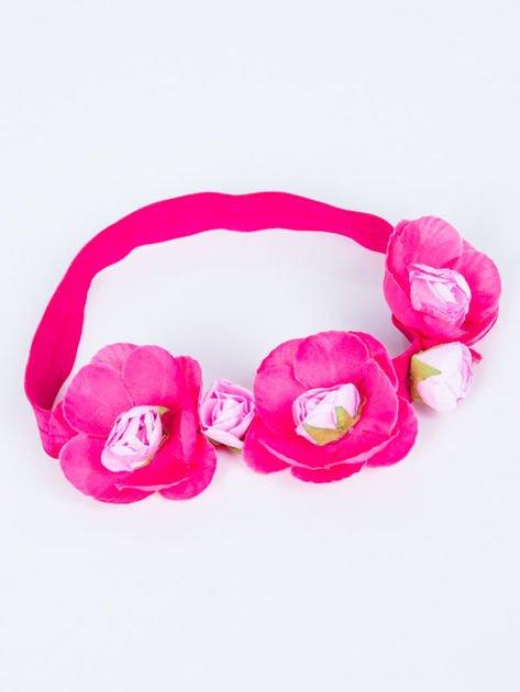 INCA Opaska różowa elastyczna do włosów zdobiona kwiatami                              zdj.                              2