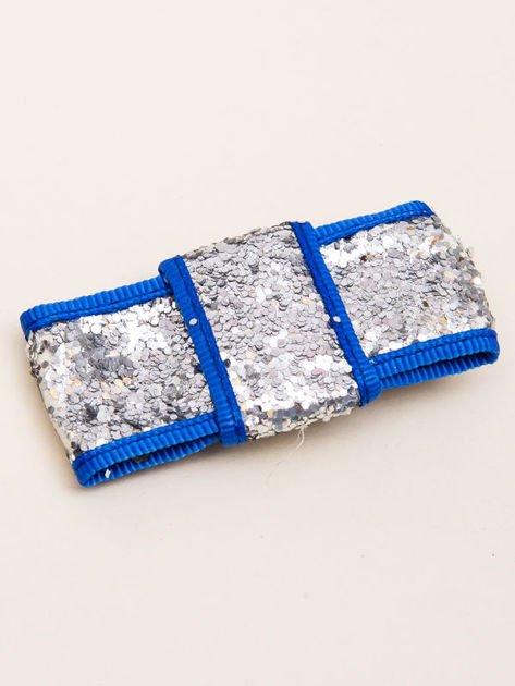 INCA Spinka do włosów krokodylek srebrno-niebieska kokarda glitter