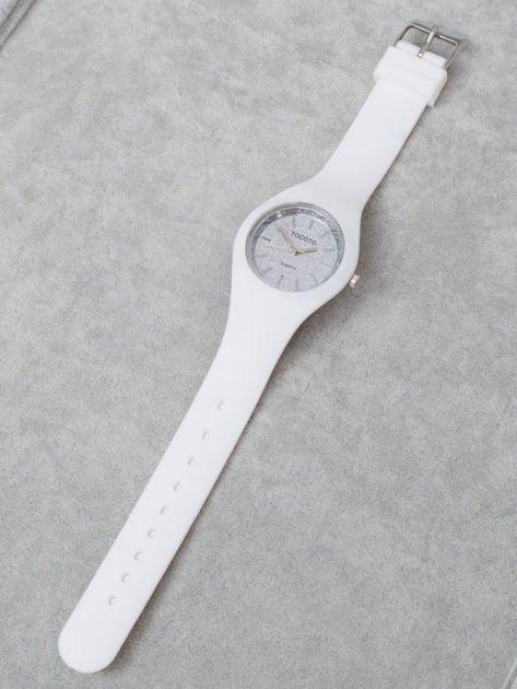 JELLY Mały biały Zegarek Damski z Tarczą GLITTER                              zdj.                              3