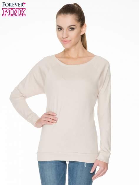 Jasnobeżowa bawełniana bluzka z rękawami typu reglan                                  zdj.                                  1