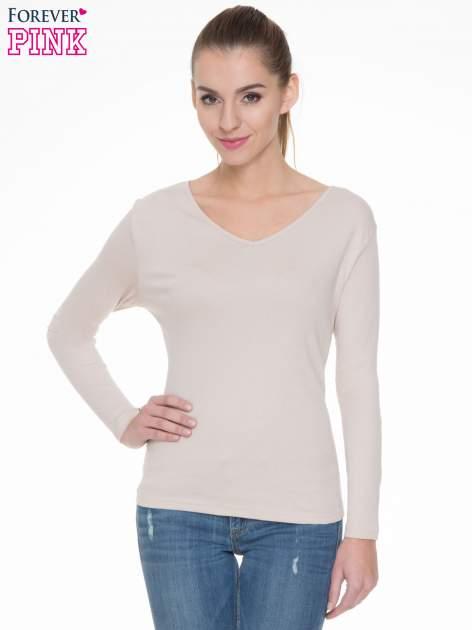 Jasnobeżowa bluzka z długim rękawem z bawełny