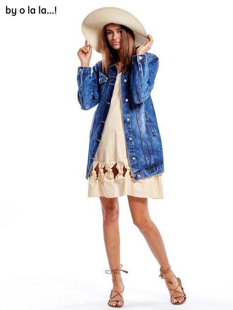 Jasnobeżowa sukienka z kokardkami BY O LA LA                               zdj.                              4