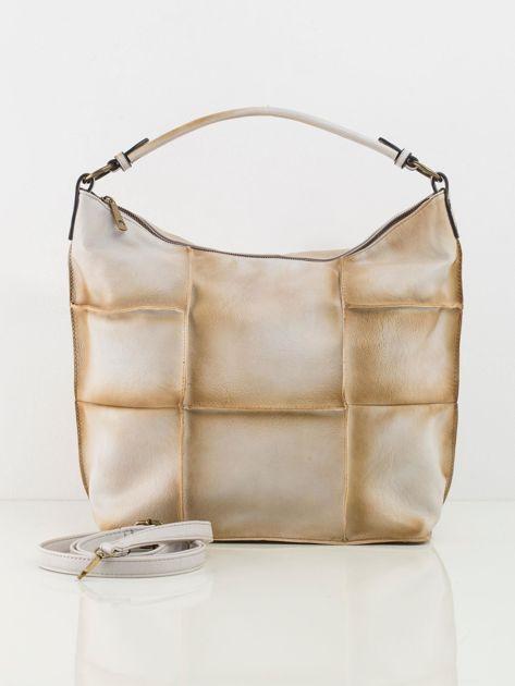 Jasnobeżowa torba patchwork