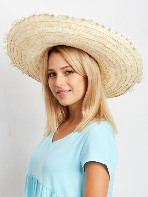 Jasnobeżowe plecione sombrero                              zdj.                              3