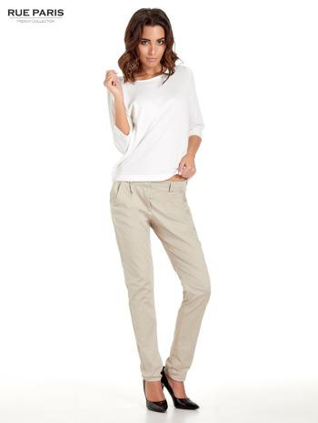 Jasnobeżowe spodnie cygaretki z zakładkami                                  zdj.                                  9
