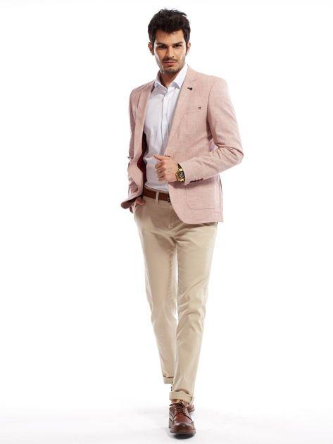 Jasnobeżowe spodnie męskie chinosy o prostym kroju                                  zdj.                                  9