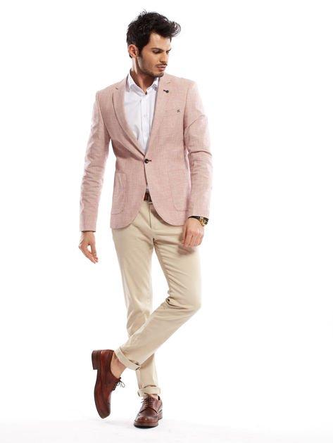 Jasnobeżowe spodnie męskie chinosy o prostym kroju                                  zdj.                                  12