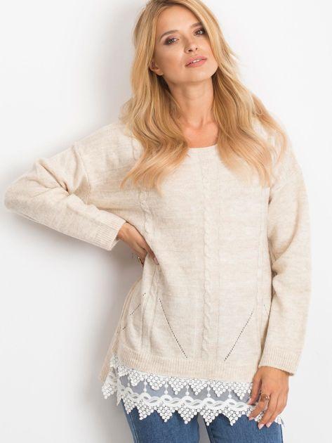 Jasnobeżowy sweter World                              zdj.                              1