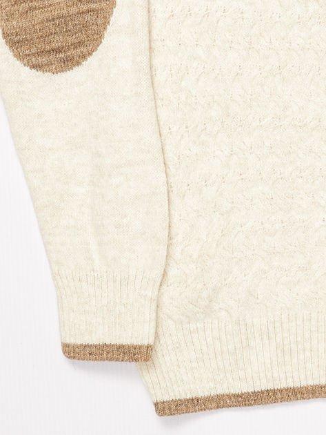 Jasnobeżowy sweter dla chłopca z plecionym wzorem                              zdj.                              8