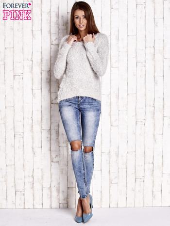 Jasnobeżowy sweter long hair                                  zdj.                                  2