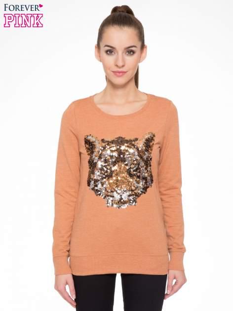 Jasnobrązowa bluza z aplikacją tygrysa z cekinów                                  zdj.                                  1