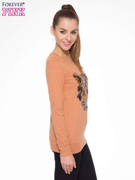 Jasnobrązowa bluza z aplikacją tygrysa z cekinów                                  zdj.                                  3