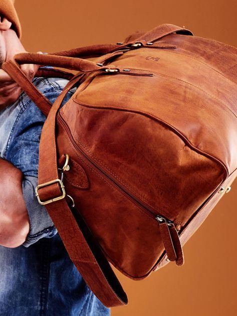 Jasnobrązowa skórzana męska torba podróżna                              zdj.                              7