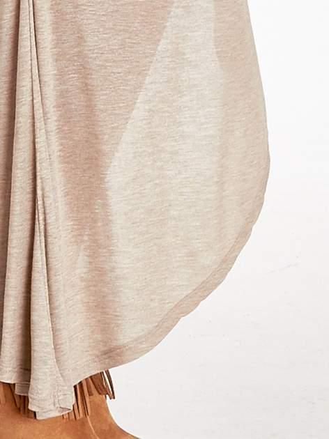 Jasnobrązowa spódnica maxi z drapowaniem i rozporkiem z boku                                   zdj.                                  9