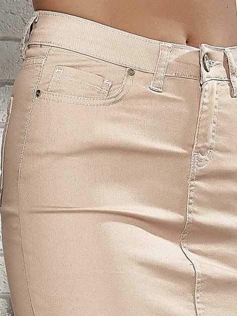 Jasnobrązowa spódnica z zapięciem na guzik                                  zdj.                                  5