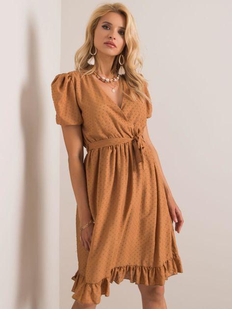 Jasnobrązowa sukienka Colette RUE PARIS