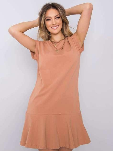 Jasnobrązowa sukienka z falbaną River