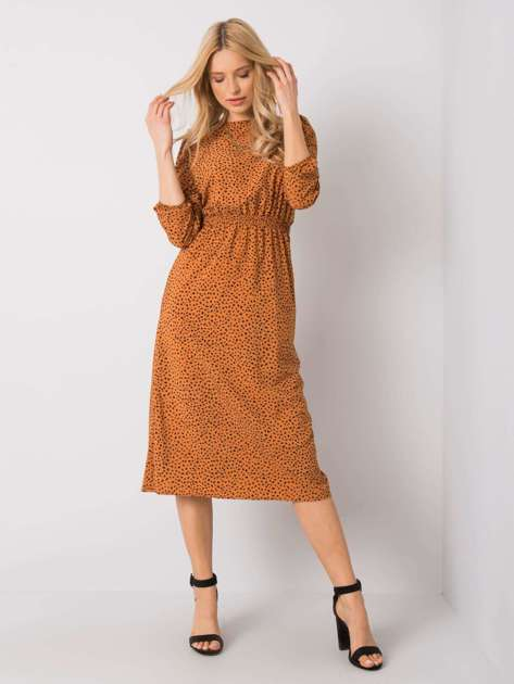 Jasnobrązowa sukienka z printem RUE PARIS