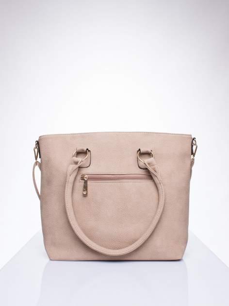 Jasnobrązowa torba shopper bag z suwakiem                                  zdj.                                  3