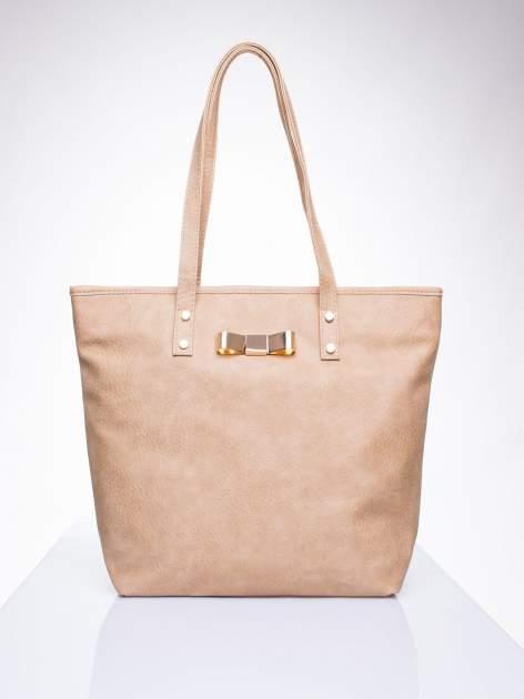 Jasnobrązowa torebka shopper bag z kokardką