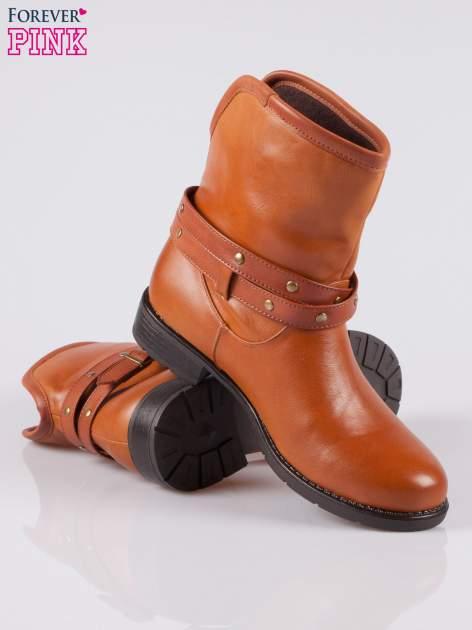 Jasnobrązowe botki w stylu biker boots                                  zdj.                                  4