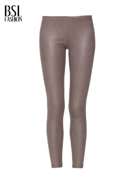 Jasnobrązowe legginsy z efektem skóry krokodyla                                  zdj.                                  5