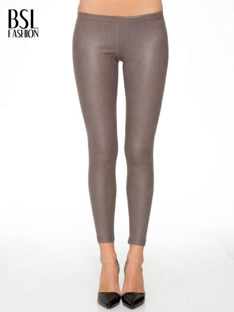 Jasnobrązowe legginsy z efektem skóry krokodyla                                  zdj.                                  1