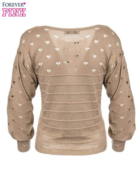 Jasnobrązowy ażurowy sweter w serduszka                                  zdj.                                  6