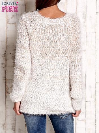 Jasnobrązowy melanżowy sweter long hair                                  zdj.                                  4