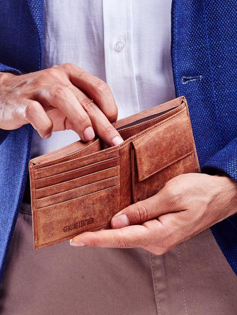 Jasnobrązowy miękki portfel męski ze skóry naturalnej                               zdj.                              2