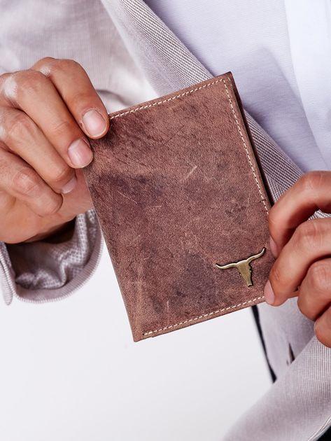 Jasnobrązowy portfel męski skórzany z emblematem