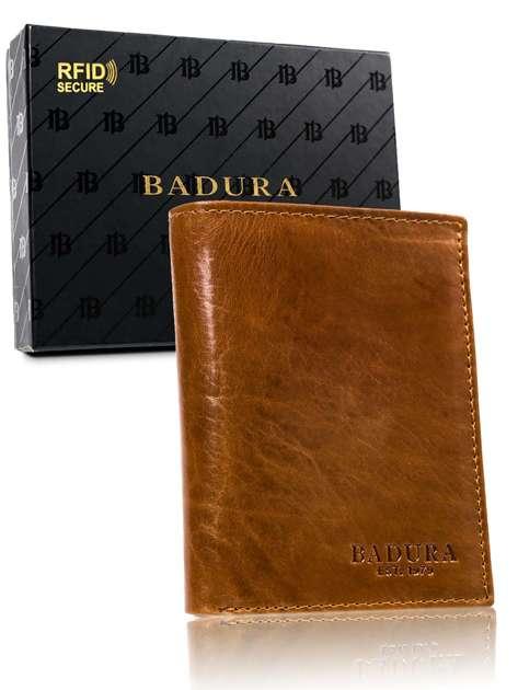 Jasnobrązowy portfel męski ze skóry BADURA