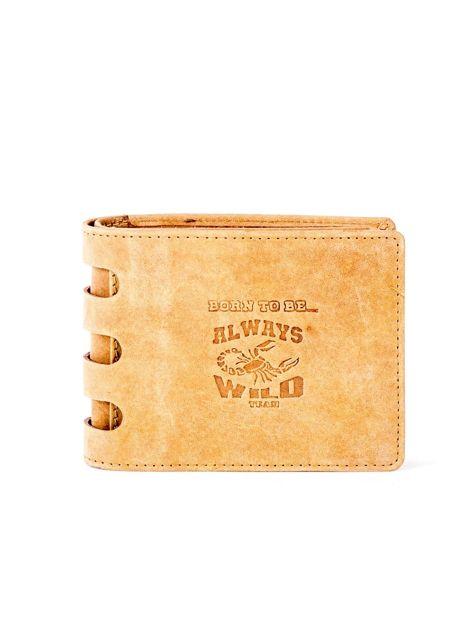 Jasnobrązowy portfel ze skóry z wycięciami                              zdj.                              1