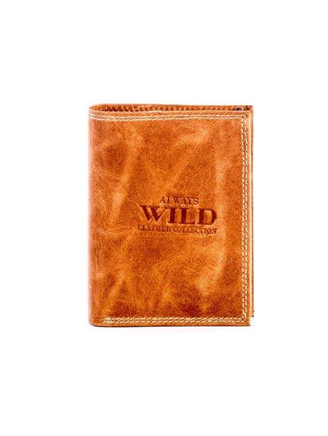 Jasnobrązowy skórzany portfel z cieniowaniem                              zdj.                              1