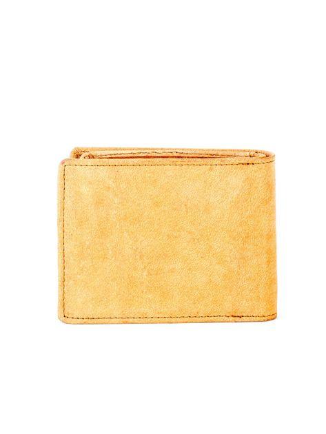 Jasnobrązowy skórzany portfel z tłoczonym krokodylem                              zdj.                              2