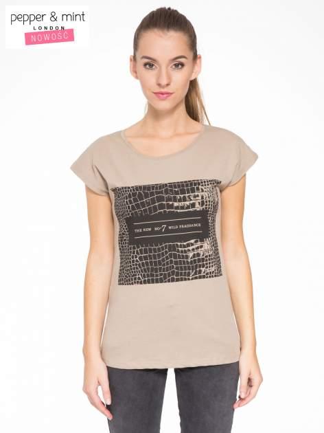 Jasnobrązowy t-shirt z motywem zwierzęcym                                  zdj.                                  1