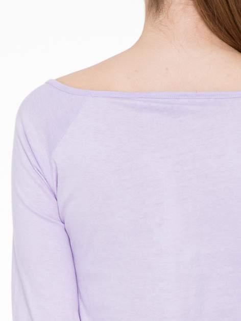 Jasnofioletowa basicowa gładka bluzka z rękawem 7/8                                  zdj.                                  5