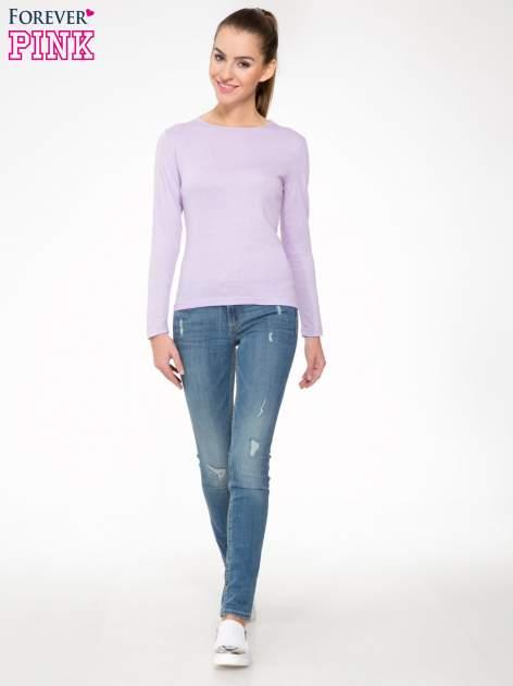 Jasnofioletowa bawełniana bluzka typu basic z długim rękawem                                  zdj.                                  2