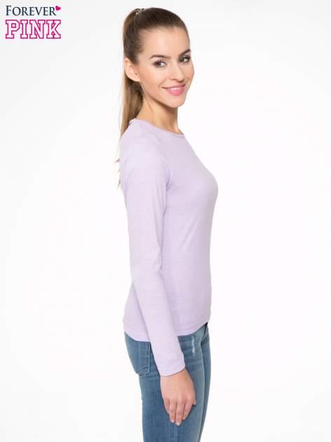 Jasnofioletowa bawełniana bluzka typu basic z długim rękawem                                  zdj.                                  3